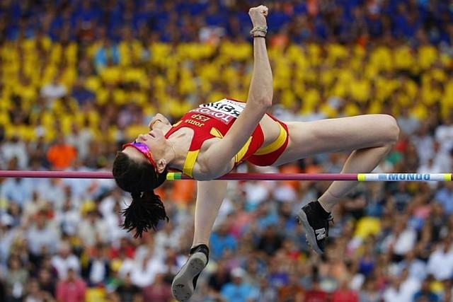 Ruth Beitia durante el Mundial de Moscú 2013