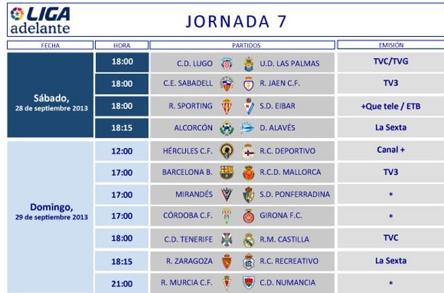 Horarios de la Jornada 7 en Segunda División