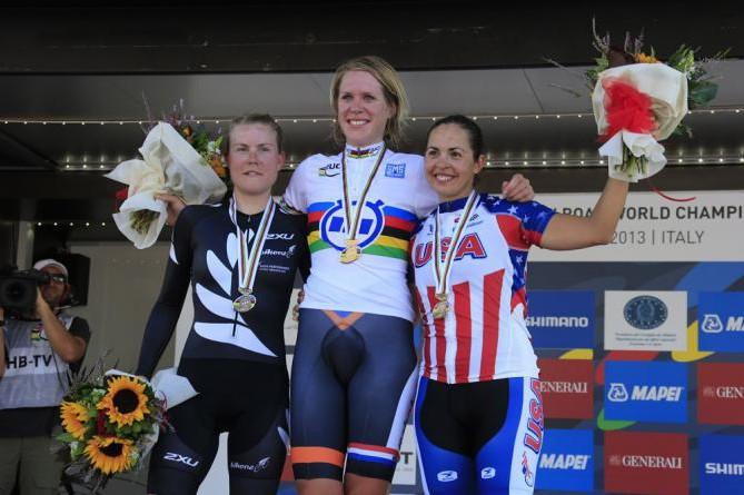 Podio de la crono femenina élite del Mundial de ciclismo