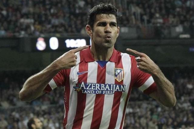 Diego Costa celebrando su gol en el Bernabeu