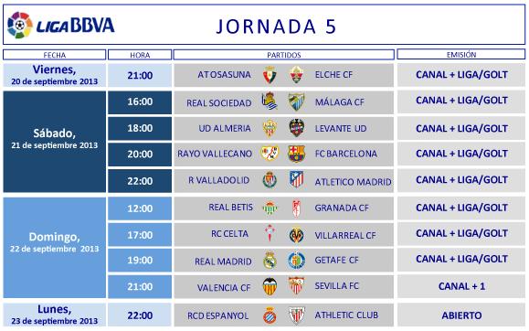 Liga-Primera-Division-Horarios-Jornada-5