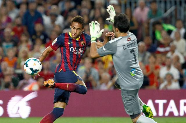 Neymar marcó su primer gol en liga ante la Real Sociedad