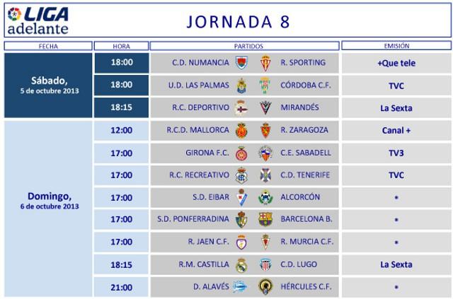 Horarios Jornada 8 Segunda División