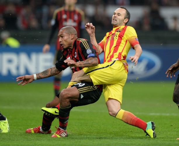 Iniesta en el Barcelona-Milan de Champions League