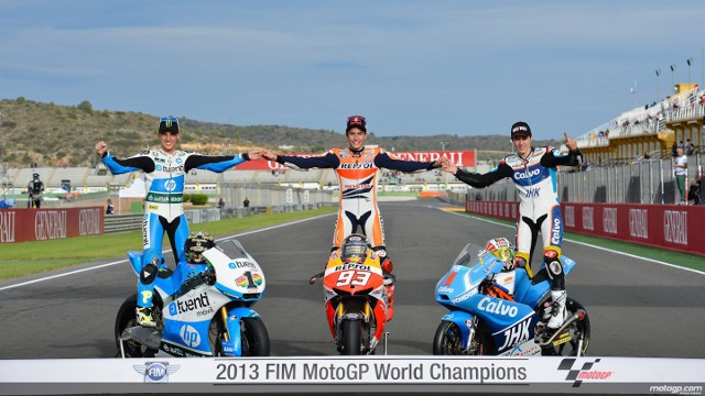 Márquez, Viñales y Espargaró, la foto de los campeones de 2013