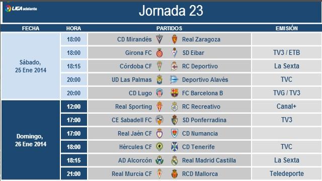 Horarios Jornada 23 Segunda División