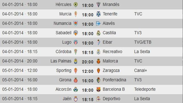 Horarios Jornada 20 Segunda División
