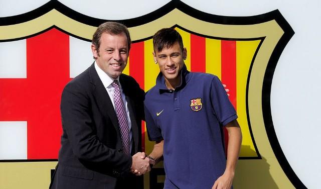 Sandro Rosell en la presentación de Neymar