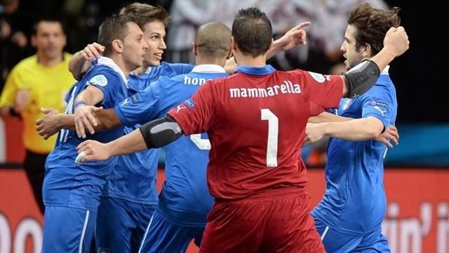 Italia celebra su victoria en el Europeo de Fútbol Sala