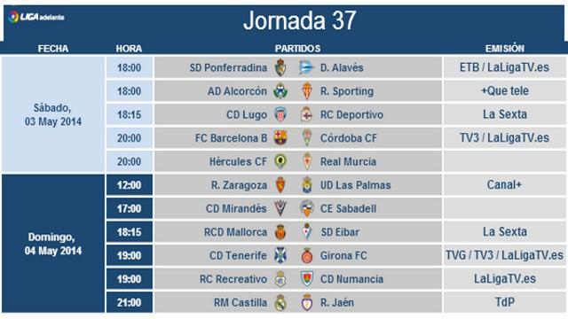 Horarios Jornada 37 Segunda División