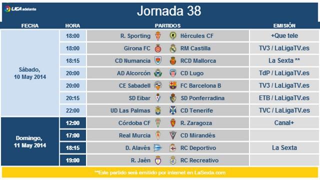 Horarios Jornada 38 Segunda División