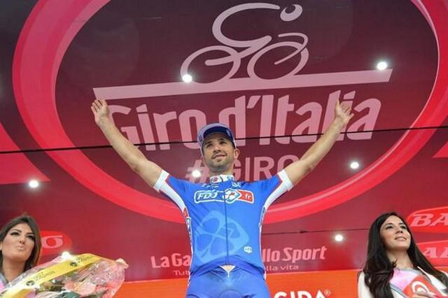Bouhanni en el podio del Giro de Italia 2014