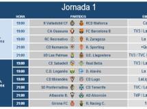 Liga Española 2014-2015 2ª División: horarios y retransmisiones de la Jornada 1