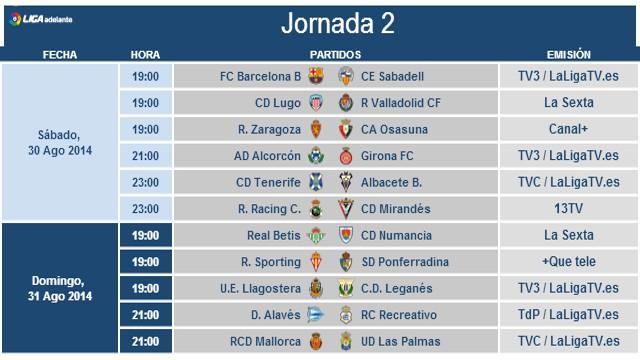Horarios Segunda División Jornada 2