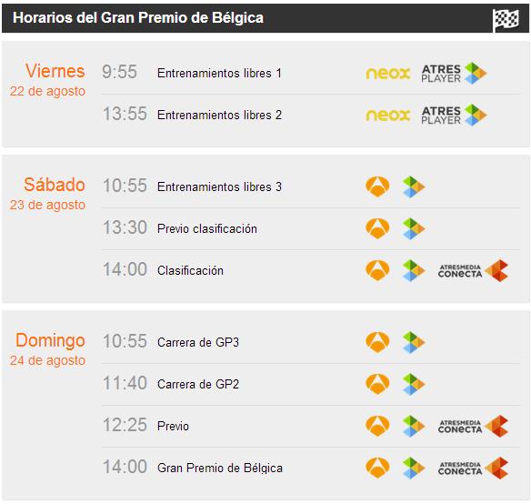Horarios GP de Belgica 2014
