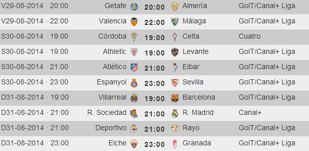 Liga Primera Division - Horarios Jornada 2