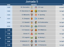 Liga Española 2014-2015 2ª División: horarios y retransmisiones de la Jornada 5