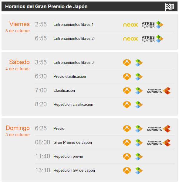 Horarios GP Japon 2014