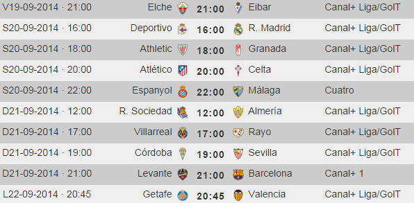 Liga Española Primera Division - Horarios Jornada 4