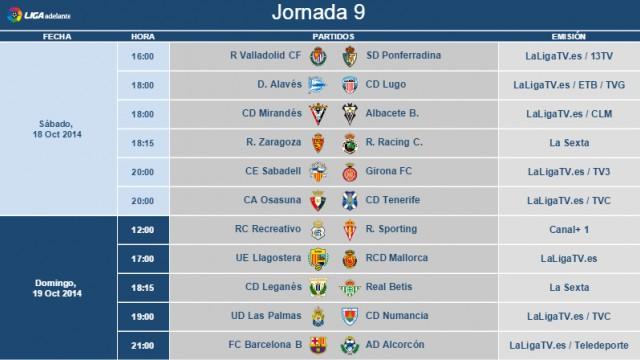 Horarios Segunda División Jornada 9