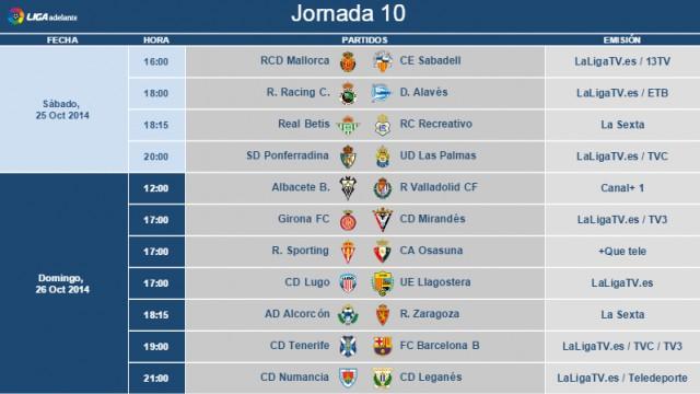 Horarios Jornada 10 Segunda División