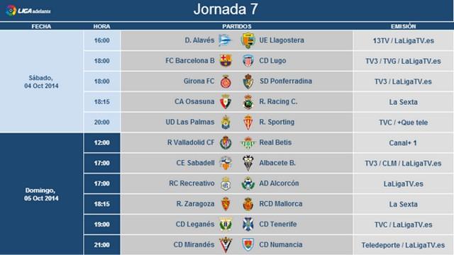 Horarios Jornada 7 Segunda División