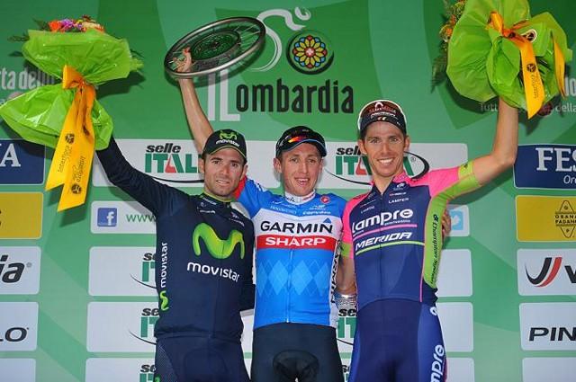Dan Martin en el podio de Il Lombardia