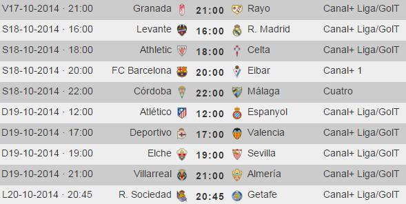 Liga Española Primera Division - Horarios Jornada 8