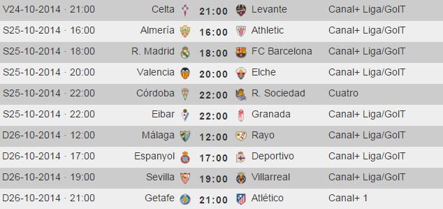 Liga Española Primera Division - Horarios Jornada 9