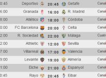 Liga Española 2014-2015 1ª División: horarios y retransmisiones de la Jornada 10