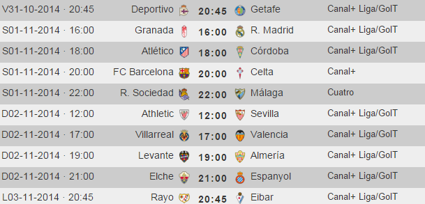 Liga Española de Futbol - Jornada 10