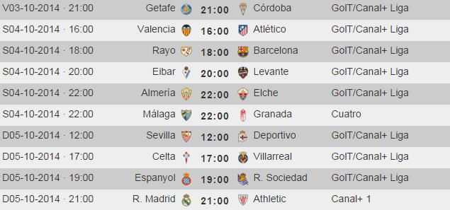 Liga Primera Division Jornada 7 - Horarios