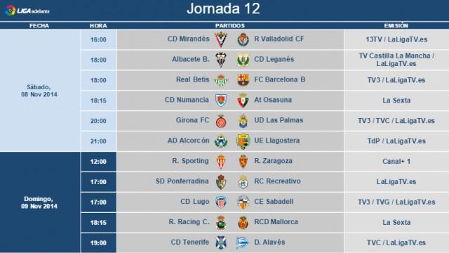 Liga Española 2014-2015 2ª División: horarios y retransmisiones de la Jornada 12