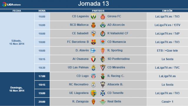 Horarios Jornada 13 Segunda División