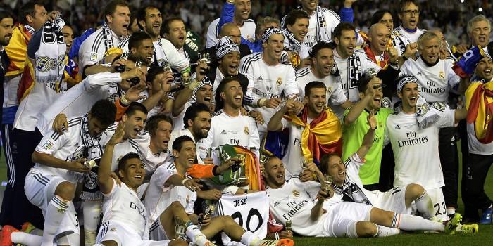 El Real Madrid festejando el título de Copa del Rey