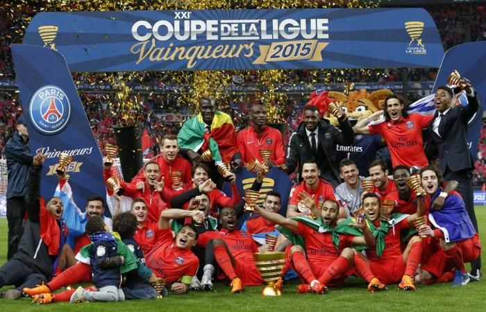 El PSG celebra el título de Copa de la Liga 2015