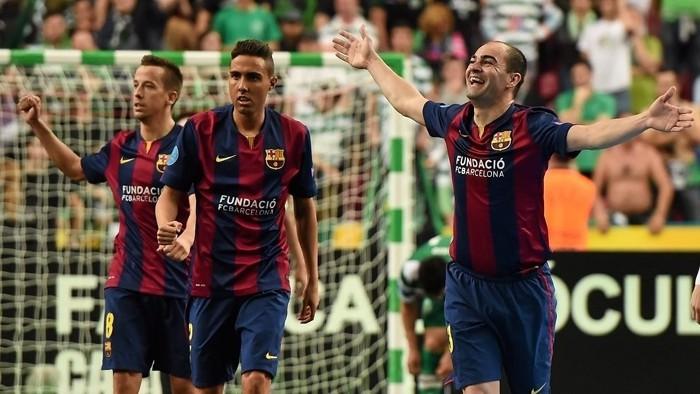 Wilde celebra uno de los goles anotados con el Barcelona