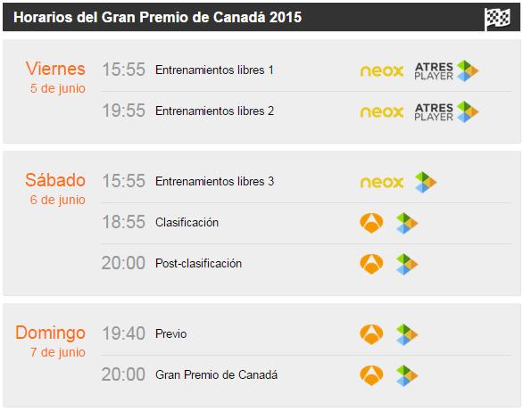 Gp de Canada de F1 - Horarios