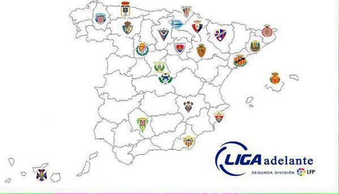 El mapa de la Liga Adelante de la temporada 2015-2016