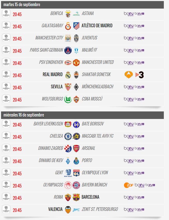 Liga de Campeones 2015-2016 - Partidos Jornada 1