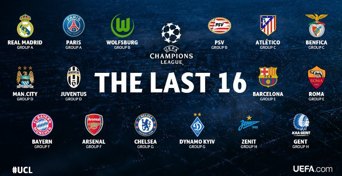 Equipos clasificados para octavos en la Liga de Campeones