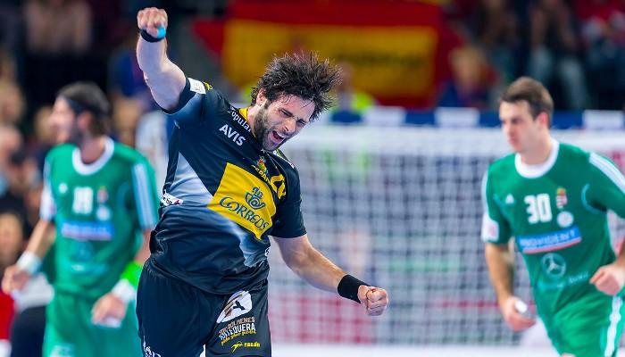 Antonio García celebra un gol anotado ante Hungría