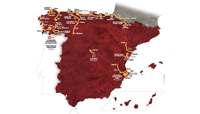 Mapa con el recorrido de la Vuelta a España 2016
