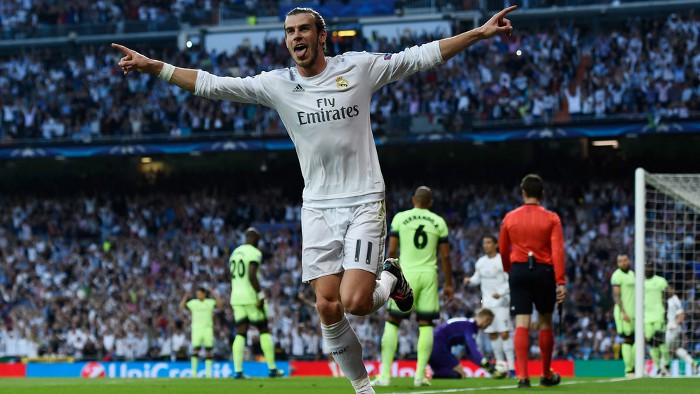 Bale celebra el gol que mete al Real Madrid en la final de la Champions
