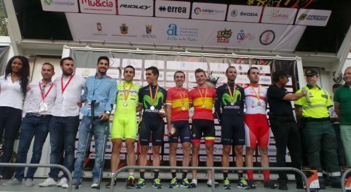 El podio con los campeones nacionales de crono de 2016