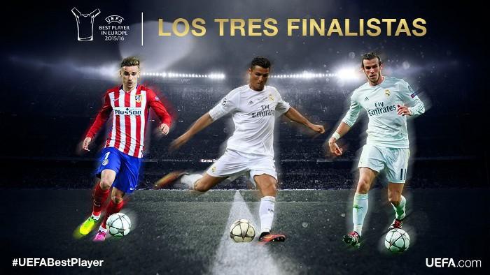 Griezmann, Cristiano y Bale optan al premio de mejor jugador de la UEFA