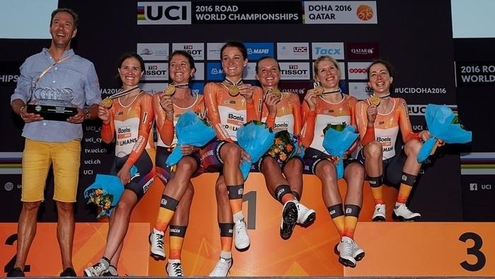 El equipo holandés Boels Doelmans ganó la crono por equipos femenina de Doha 2016