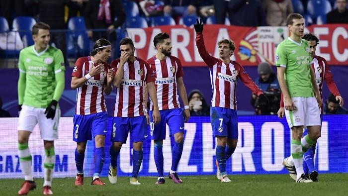 El Atlético de Madrid se impuso 2-0 al PSV