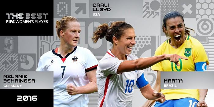 Estas son las tres finalistas al premio a la mejor jugadora de 2016