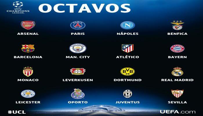 Equipos clasificados para octavos de la Champions